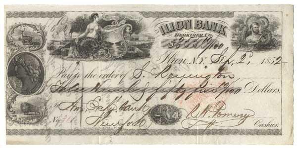 2023: SAMUEL REMINGTON PARTLY-PRINTED BANK CHECK.