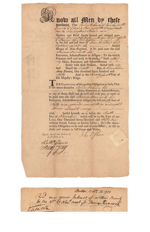 3A: AN EARLY BOND SIGNED BY THOMAS HANCOCK