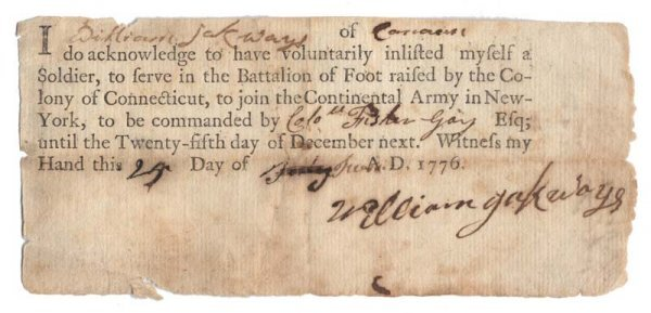 24A: 1776 SOLDIER'S PRINTED ENLISTMENT CERT