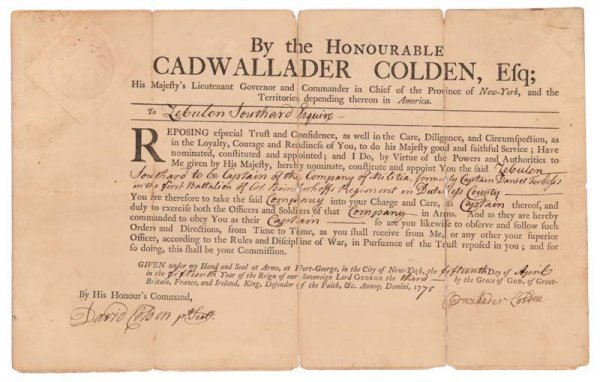 1: CADWALLADER COLDEN MILITARY APPOINTMENT