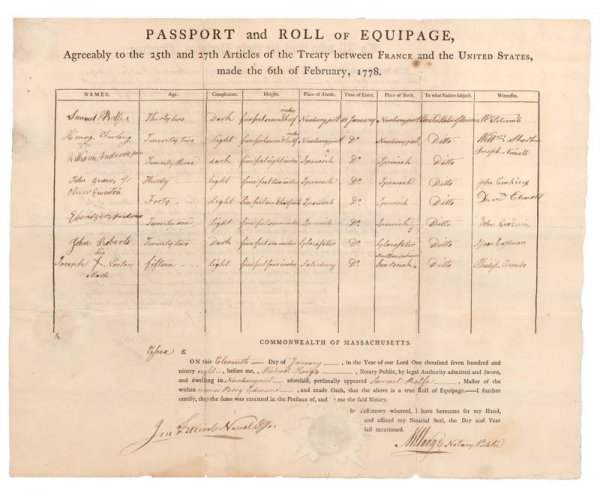 9: UNUSUAL EARLY U.S. SHIPS PASSPORT