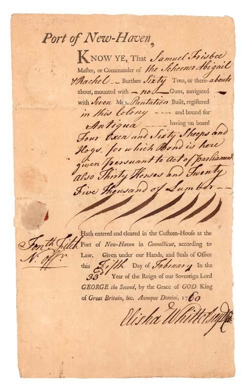 11: 1756 NEW HAVEN CUSTOM'S HOUSE DOCUMENT