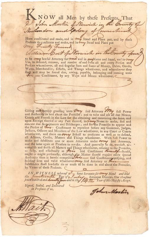 15: 1764 LEGAL DOCUMENT APPOINTING AN ATTORNEY