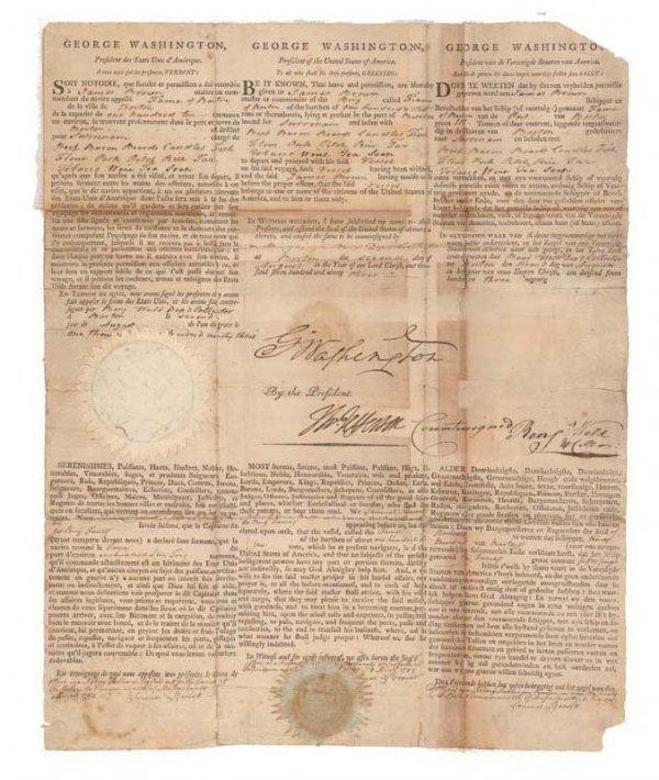 107: WASHINGTON &  JEFFERSON SHIP'S PAPER