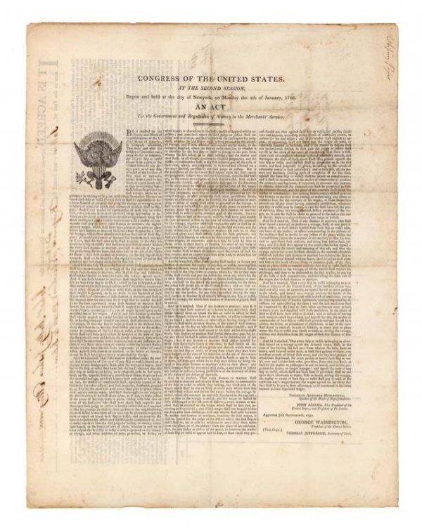 1: 1790 STATUTE REGULATING AMERICAN SHIPPING