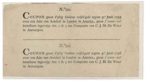 4: UNCUT PAIR OF DUTCH COUPONS FOR LAND IN AMERICA