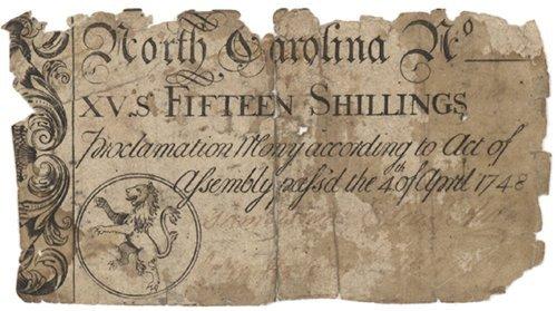 9: NORTH CAROLINA FIFTEEN SHILLING COLONIAL NOTE