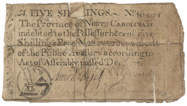 15: NORTH CAROLINA FIVE SHILLING COLONIAL NOTE