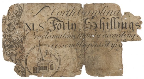 17: NORTH CAROLINA FORTY SHILLINGS COLONIAL NOTE