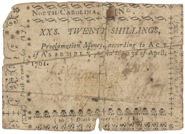 18: 1761, NORTH CAROLINA TWENTY SHILLINGS