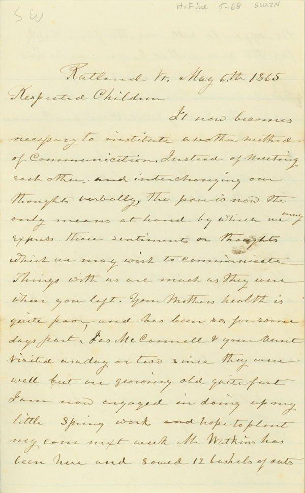 359: RUTLAND VERMONT MOURNS PRESIDENT LINCOLN