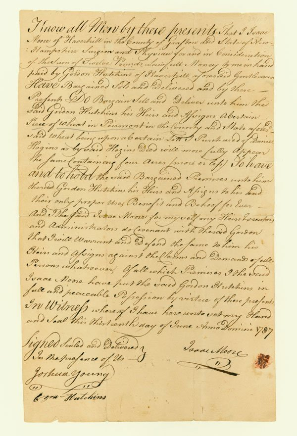 20: EARLY NEW HAMPSHIRE DEED