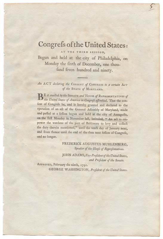 2: PRINTED ACT OF THE FIRST CONGRESS