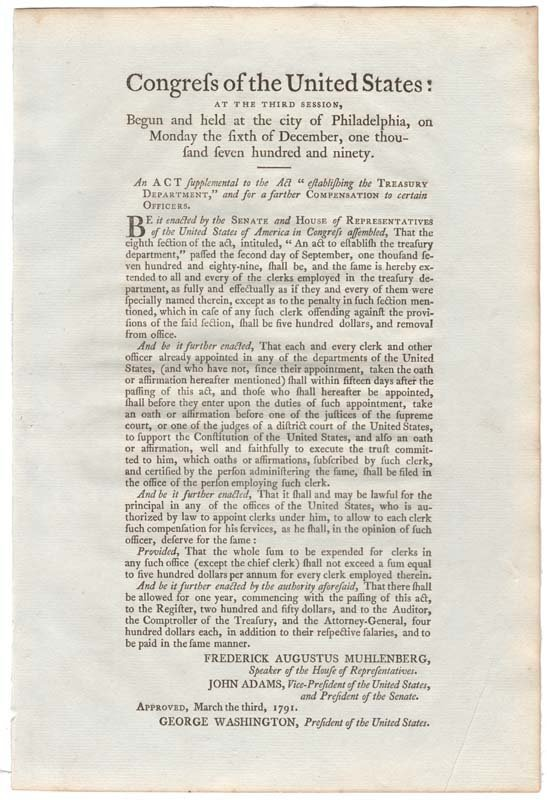 3: PRINTED ACT OF THE FIRST CONGRESS