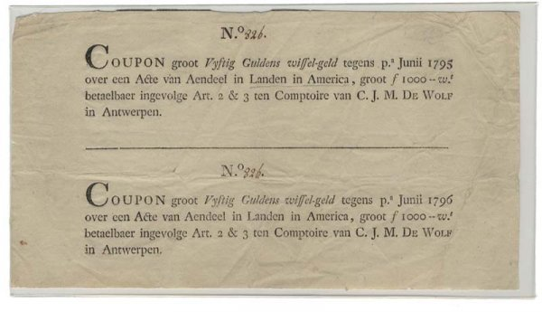 11: UNCUT PAIR OF DUTCH COUPONS FOR LAND IN AMERICA