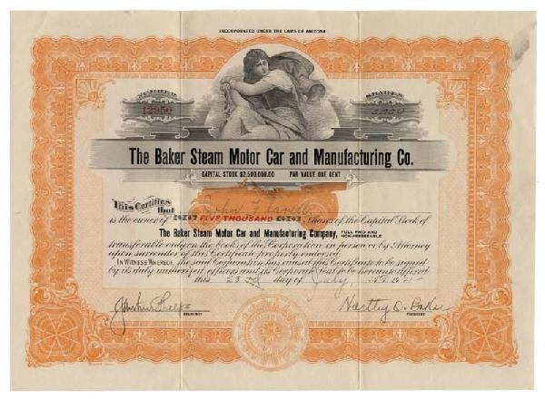 1: Baker Steam Motor Car and Manufacturing Co.