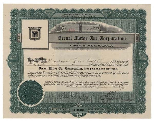 3: Drexel Motor Car Corporation Stock