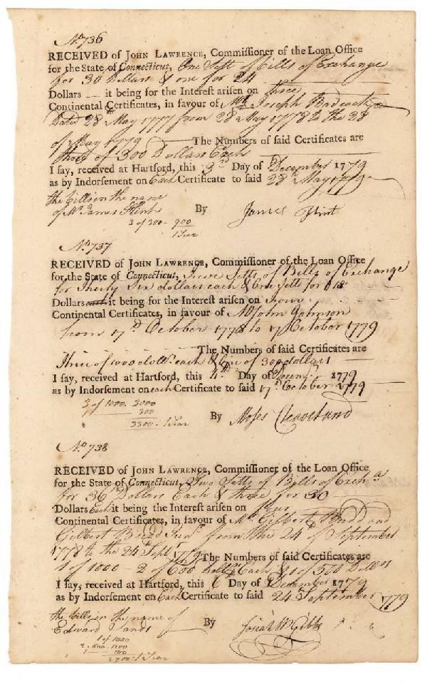 13: Moses Cleaveland Signed Loan Office Document