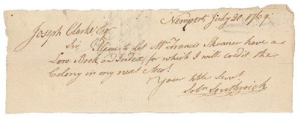 19: A Rare Autograph Of Early Printer Solomon Southwick