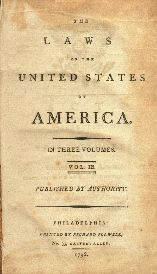 21: 18th Century Imprint Laws Of The US Of America