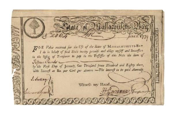 2: State Of MA Bay Lottery Bond The American Revolution