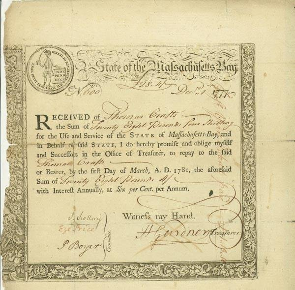 6: State Of The Massachusetts Bay Bond