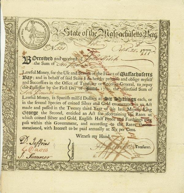 9:State Of MA Bay Lottery Bond /The American Revolution
