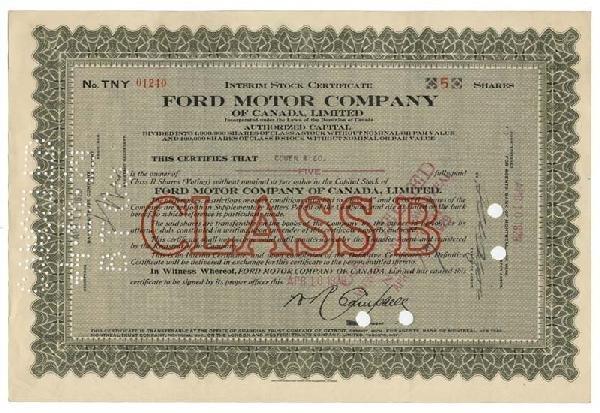 19: Scarce Issue - Ford Motor Company Of Canada, Ltd.