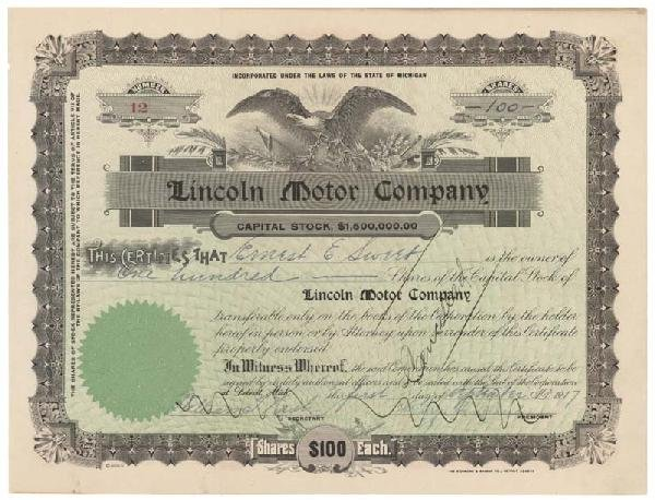 20: Lincoln Motor Co. Stock Signed By Henry Leland