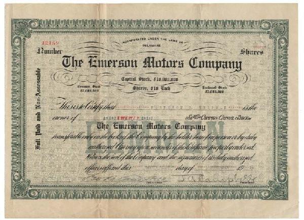 22: Emerson Motors Company