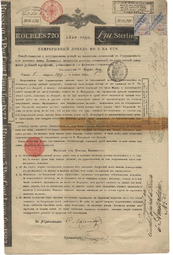 193: Russian Bond Signed By Nathan Rothschild