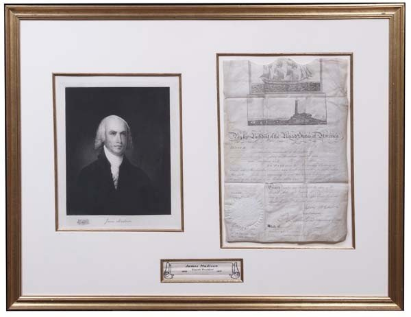 9: James Madison Signed Ship's Passport