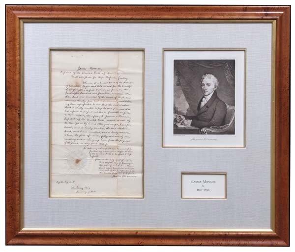 10:  Monroe & J. Q. Adams Signed Ship's Pass