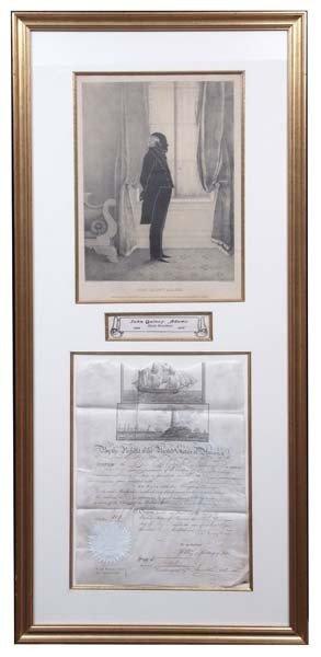 11: J. Q. Adams and James Monroe Signed Pardon