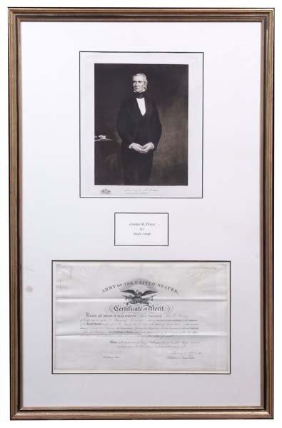 17: James Polk Signed Certificate of Merit