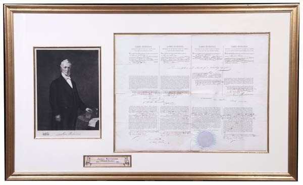 24: Buchanan Signed Ship's Paper For A Whaling Vessel