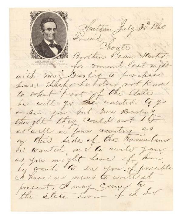 99: Penned On Abraham Lincoln Election Letterhead