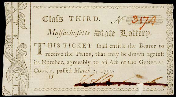 "4: UNCIRCULATED 1790 ""MASS.  STATE LOTTERY"" TICKET"