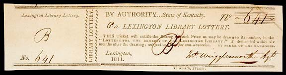 "5: 1811 DATED :LEXINGTON LIBRARY LOTTERY"" TICKET"