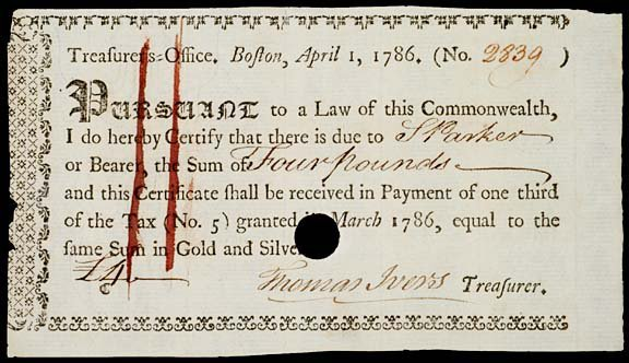 "8: BOSTON TAX PAYMENT ""BEARER"" PAYMENT CERTIFICATE"