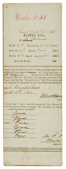 22: U.S. COLORED TROOPS MUSTER ROLL
