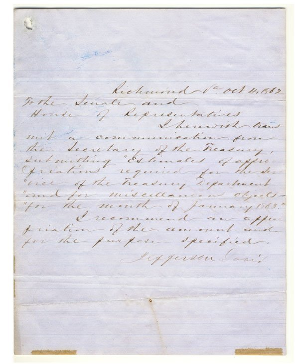186: JEFFERSON DAVIS WRITES TO THE CONFEDERATE HOUSE