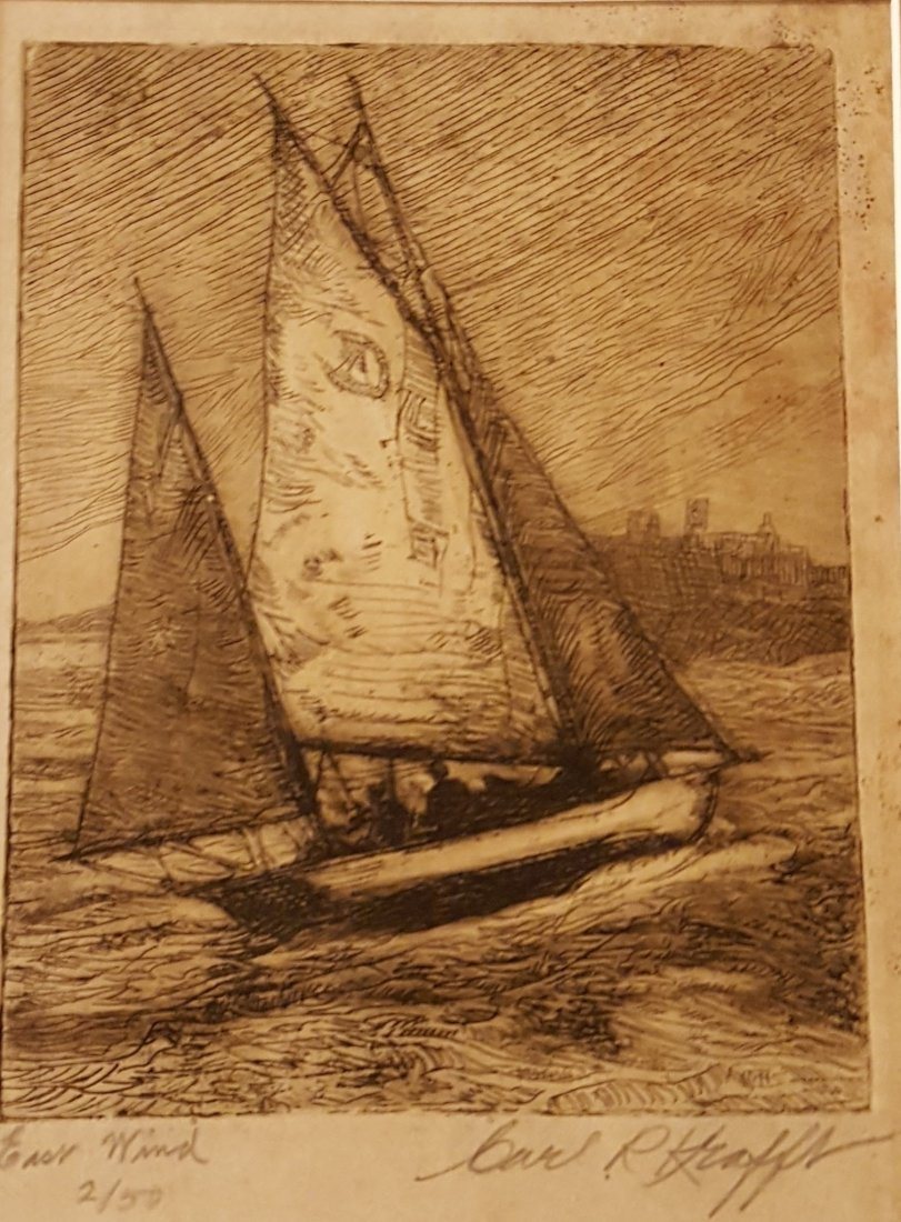 "KRAFFT Signed Etching Boat at Sea ""East Wind"""