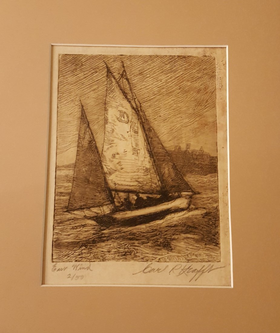 "KRAFFT Signed Etching Boat at Sea ""East Wind"" - 2"