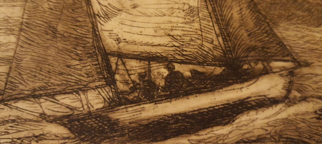 "KRAFFT Signed Etching Boat at Sea ""East Wind"" - 4"