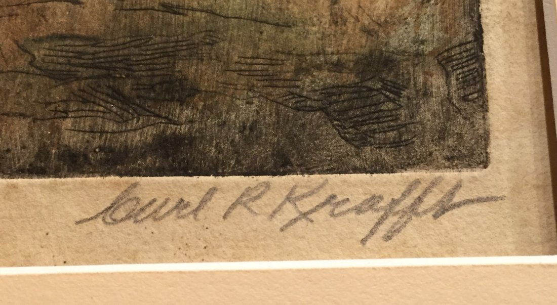 CARL KRAFFT Signed Hand-color Etching - 3