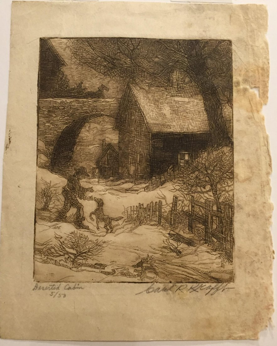 CARL KRAFFT Signed Etching of Cabin
