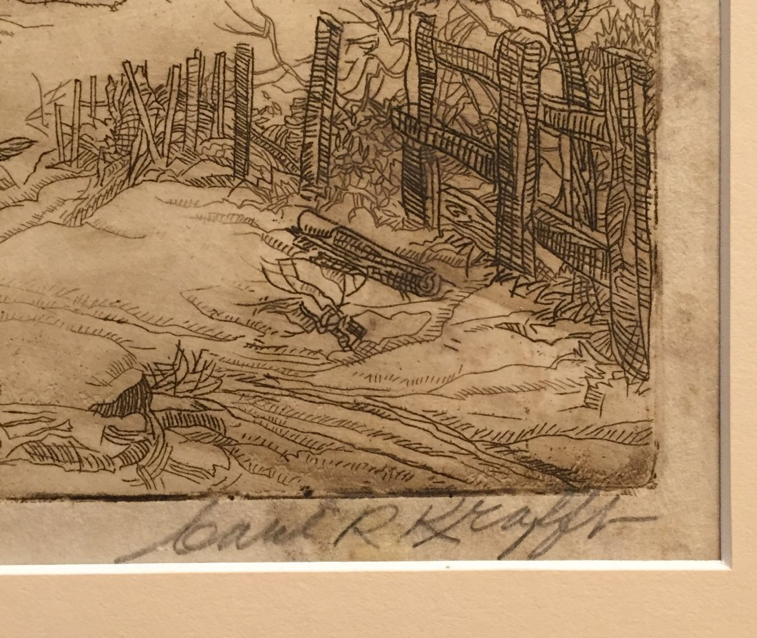 CARL KRAFFT Signed Etching of Cabin - 2