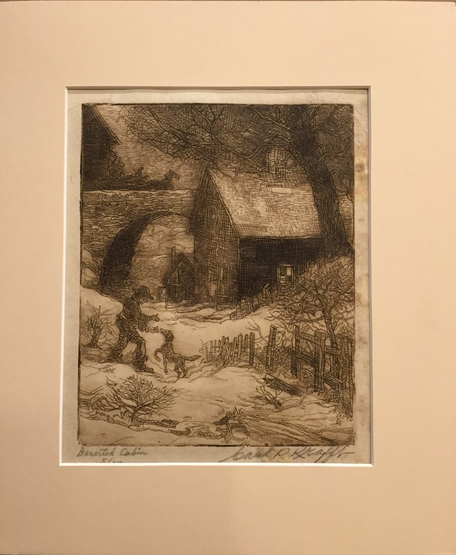 CARL KRAFFT Signed Etching of Cabin - 5