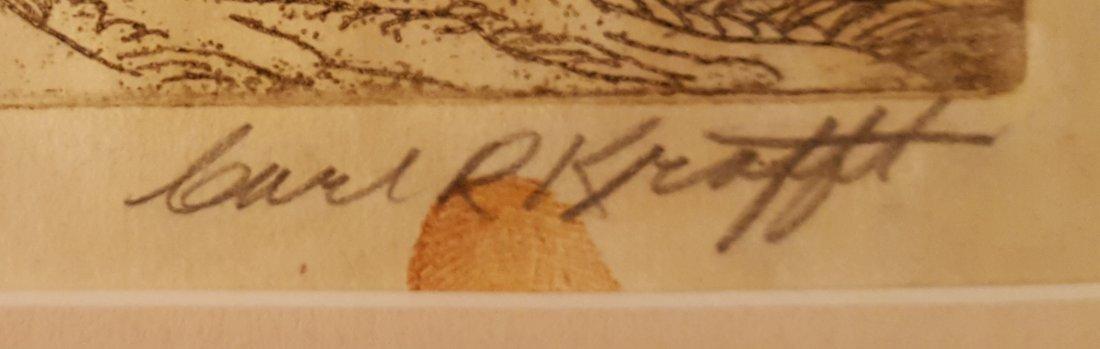 CARL KRAFFT Signed Etching Village Road - 3